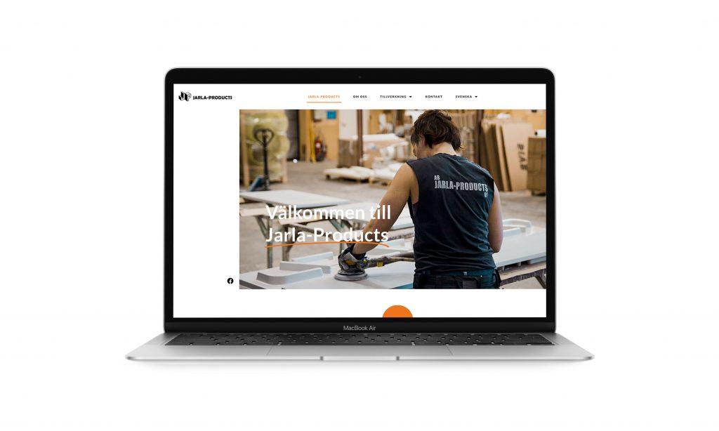 Laptop skärm med Jarla-Products hemsida